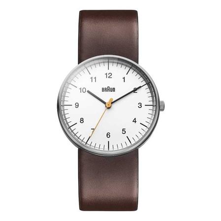 Braun - Braun BN0021WHBRG Deri Kayışlı Klasik Erkek Kol Saati Beyaz- Kahverengi