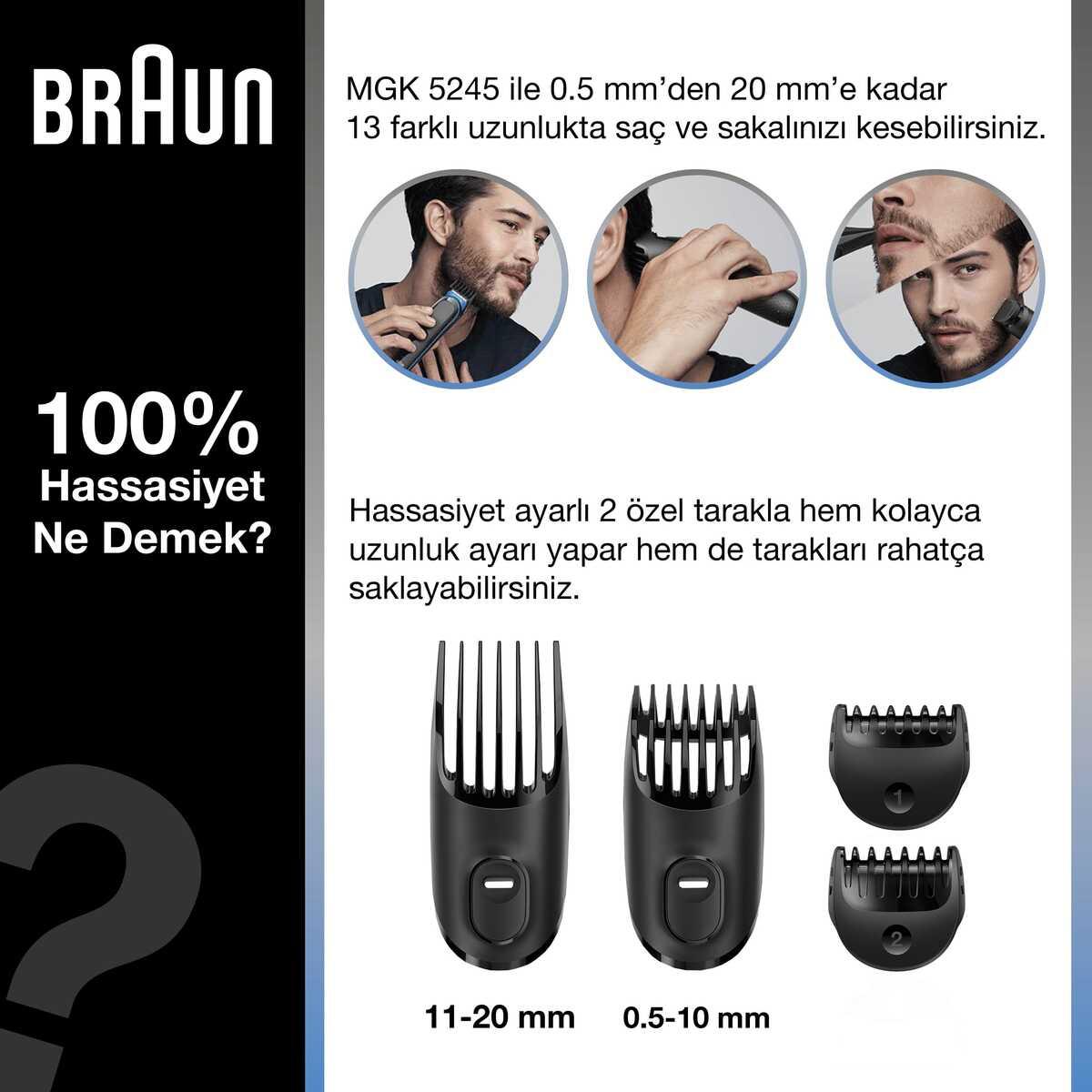 Braun MGK 5245 Erkek Bakım Kiti 7in1 Şekillendirici + Gillette Hediye