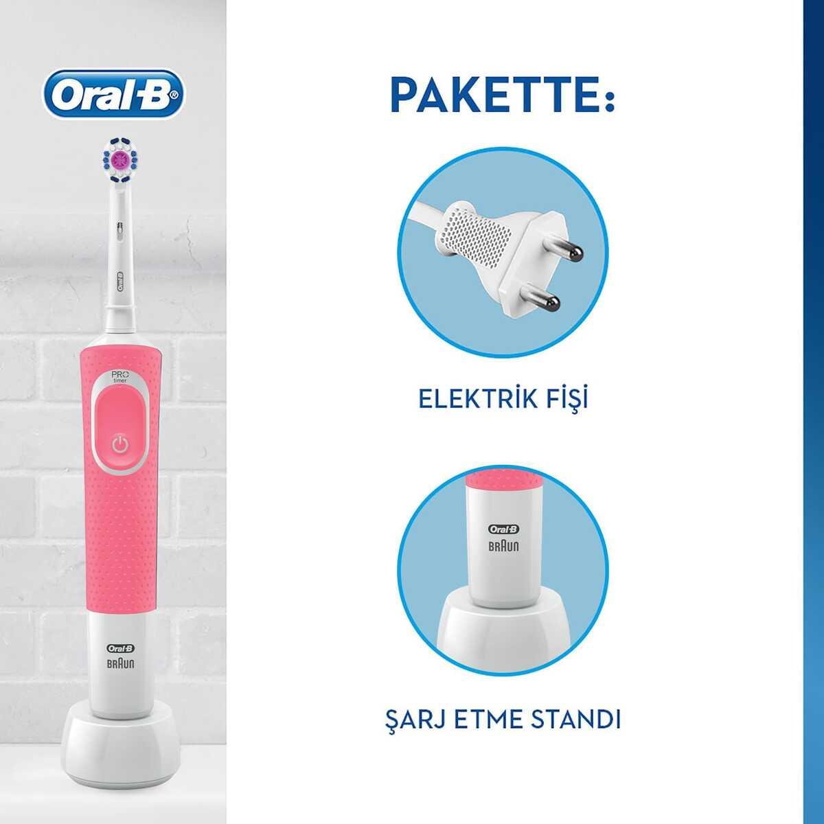 Oral-B D100 Vitality 3D White Şarjlı Diş Fırçası - Pembe