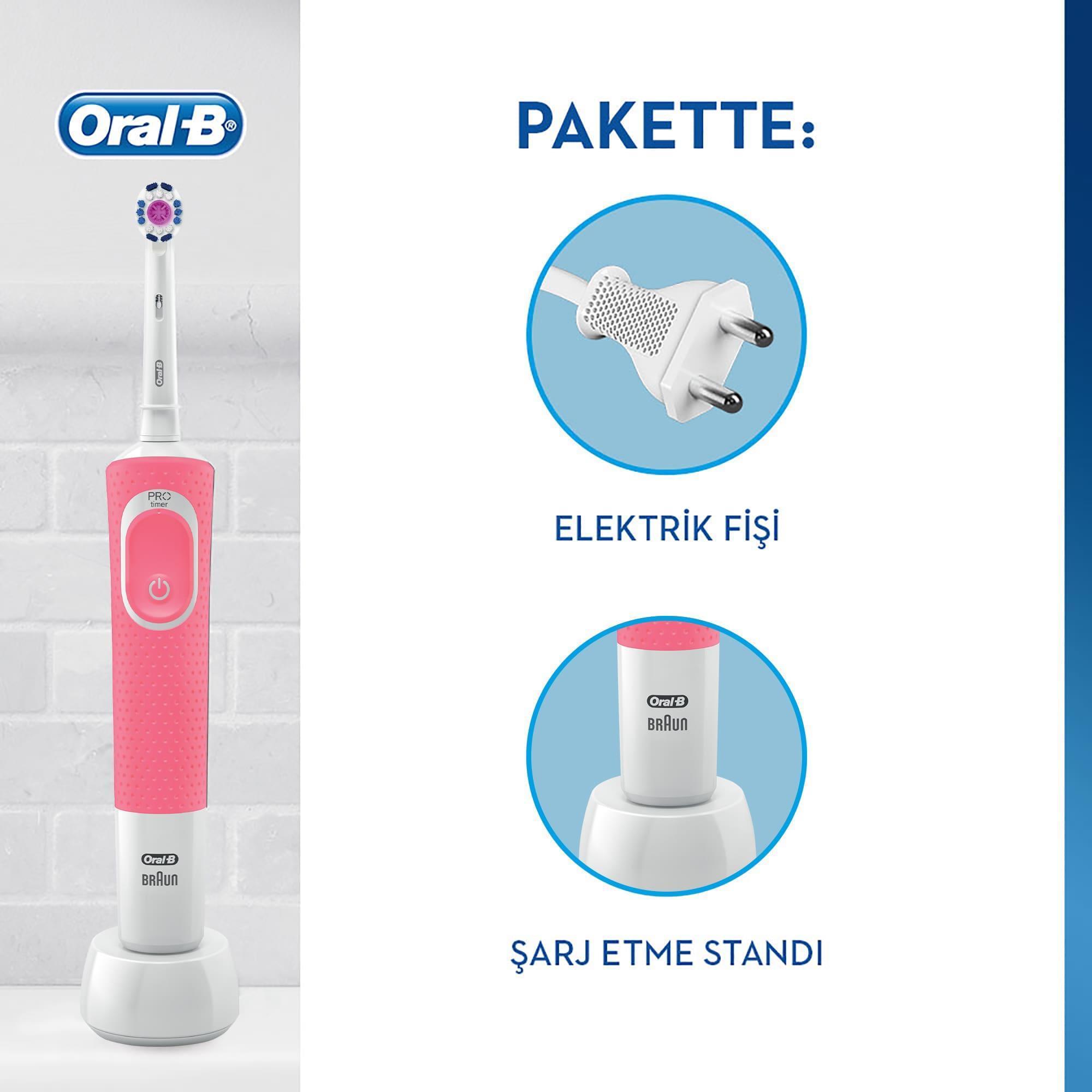 Oral-B D100 Vitality 3D White Şarjlı Diş Fırçası - Pembe - Thumbnail