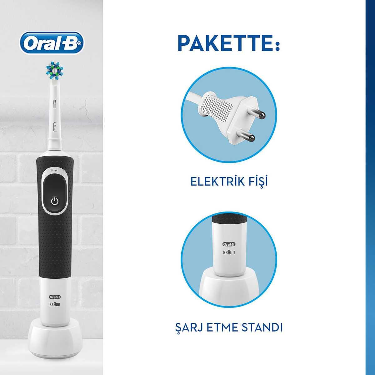 Oral-B D100 Vitality Cross Action Şarjlı Diş Fırçası - Siyah