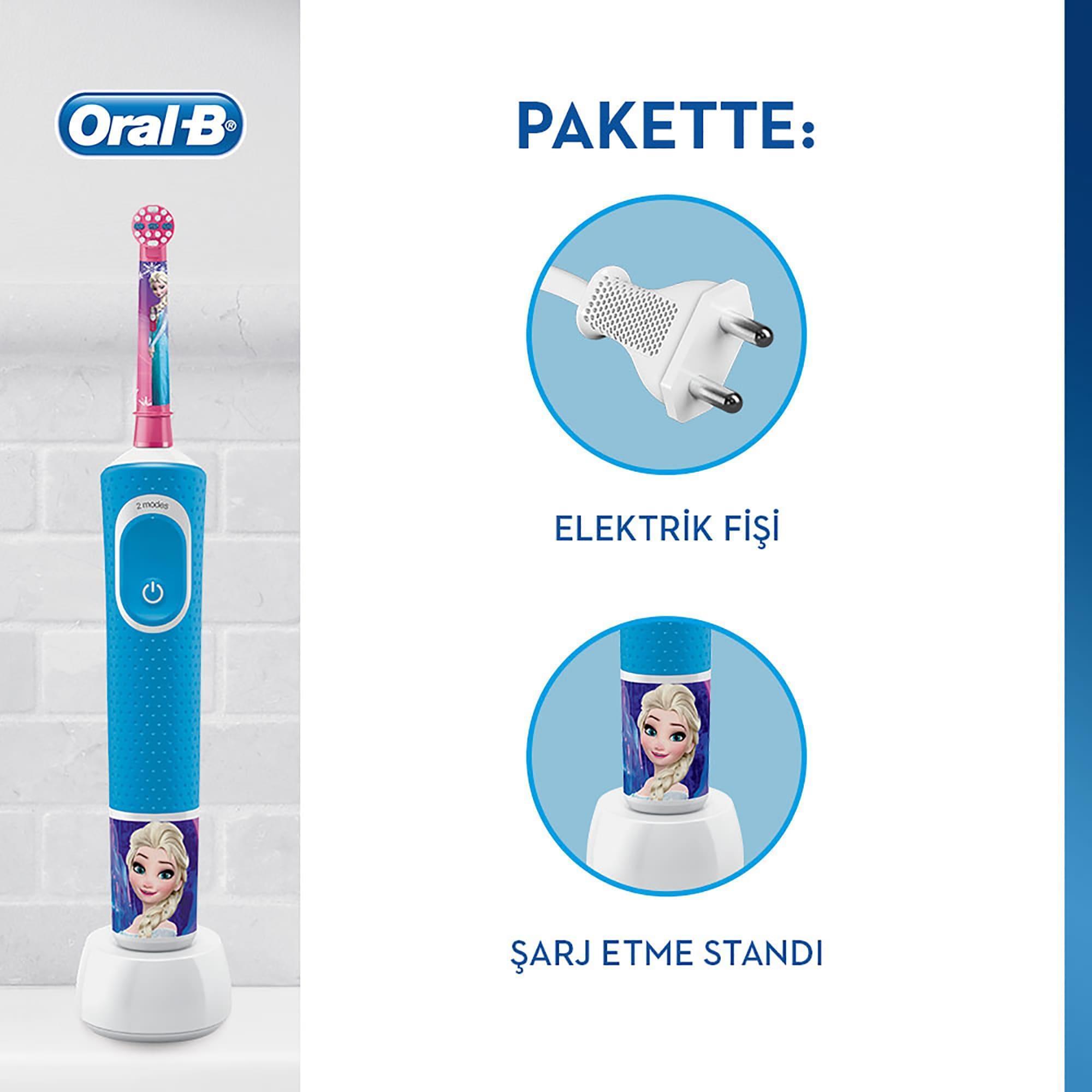 Oral-B D100 Vitality Frozen Özel Seri Çocuklar İçin Şarj Edilebilir Diş Fırçası - Thumbnail